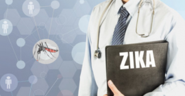 Doctor holding folder with Zika information